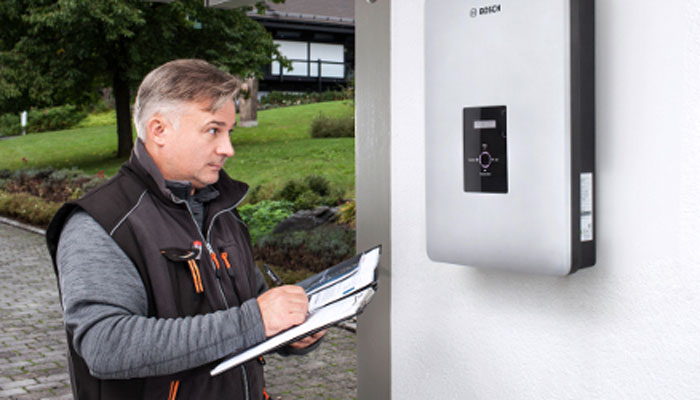Wall mounted Bosch Solar Inverter commissioning